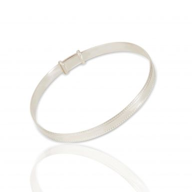 New Sterling Silver Beaded Edge Expanding Bangle