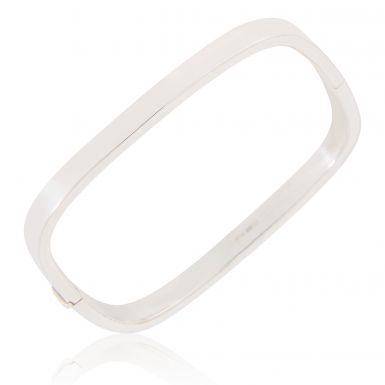 New Sterling Silver Hinged Square Ladies Bangle