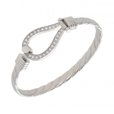 New Sterling Silver Solid Mens Cubic Zirconia Hook Bangle