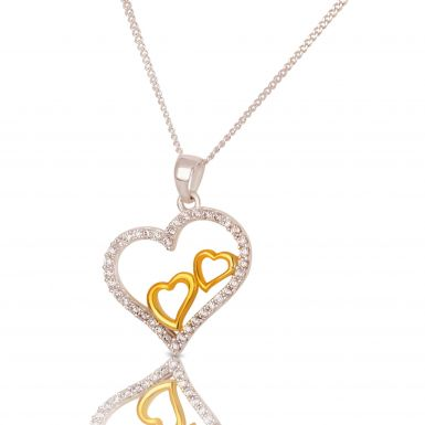 New Sterling Silver & Gold Plated Cubic Zirconia Heart Necklace