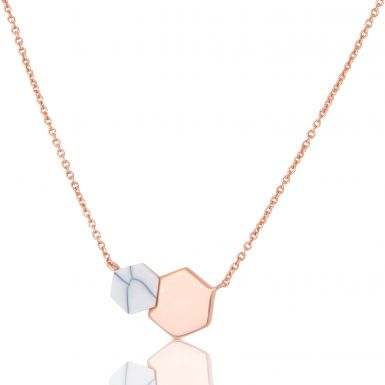 New Silver & Rose Gold Plate Double Hexagon Adjustable Necklace