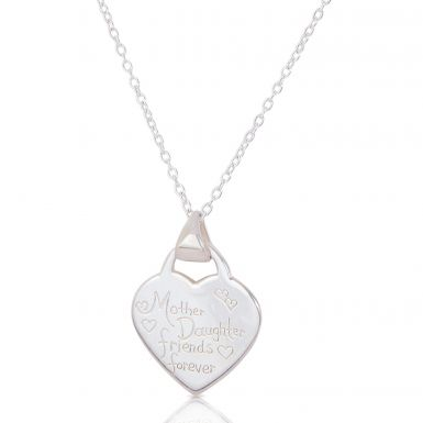 New Silver Mother Daughter Friends Forever Heart Necklace