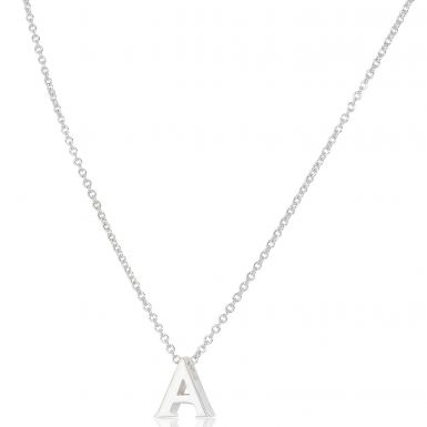 New Sterling Silver Initial A Pendant Adjustable Chain Necklace
