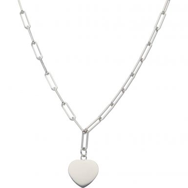 New Sterling Silver 17 Inch Paperclip Link Necklace & Heart