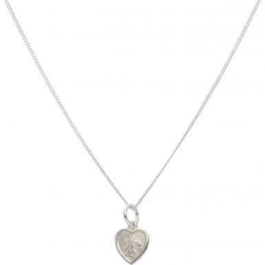 """New Sterling Silver Heart St Christopher & 18"""" Chain Necklace"""