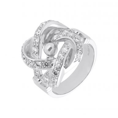 New Sterling Silver Cubic Zirconia Large Knot Ring