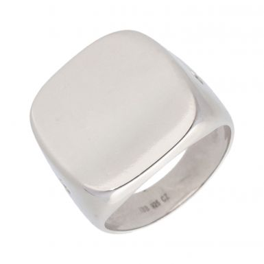 New Sterling Silver Stone Set Square Signet Ring