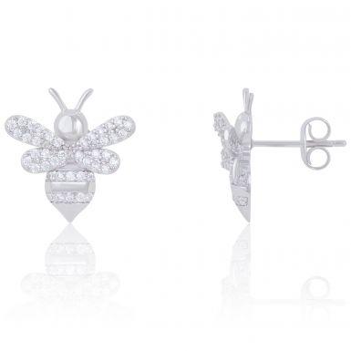 New Sterling Silver Cubic Zirconia Bee Stud Earrings