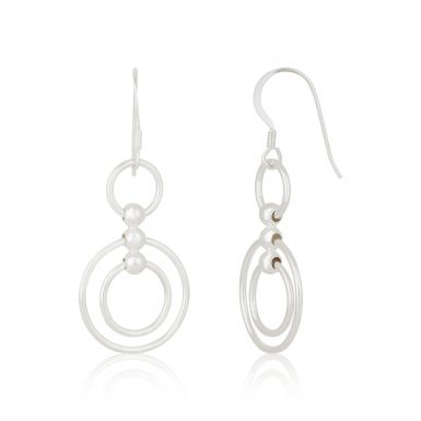 New Sterling Silver Double Circle Drop Earrings