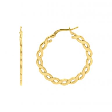 New Sterling Silver & Gold Plate Flat Chain Design Hoop Earrings