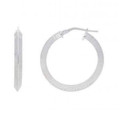 New Sterling Silver Greek Key Hoop Earrings