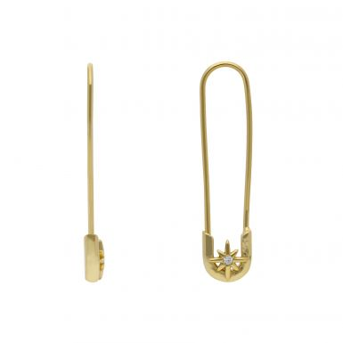 New Gold Plated Sterling Silver Star Safety Pin Earrings
