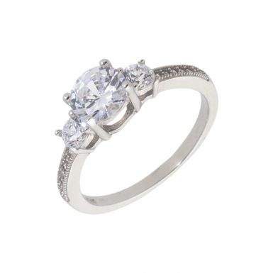 New Sterling Silver Cubic Zirconia Trilogy Dress Ring