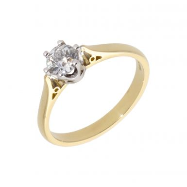 New 18ct Yellow Gold 0.54 Carat Diamond Solitaire Ring