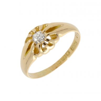 Pre-Owned 18ct Yellow Gold Diamond Solitaire Signet Style Ring