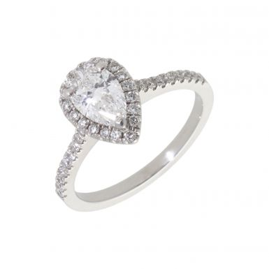 Pre-Owned Platinum Pear Cut Diamond Solitaire & Shoulder Ring