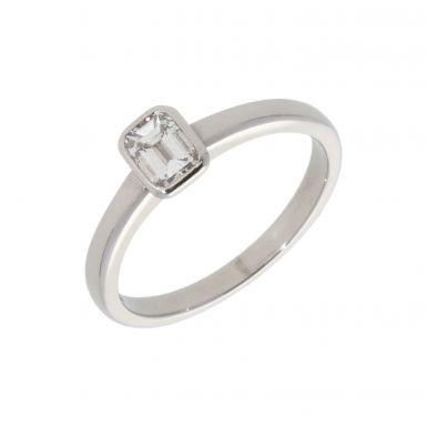 Pre-Owned Platinum 0.50 Carat Emerald Cut Diamond Solitaire Ring