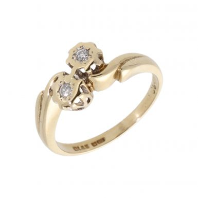 Pre-Owned 9ct Gold Illusion Set 2 Stone Diamond Twist Ring