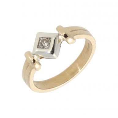 Pre-Owned 9ct Gold 0.15 Carat Fancy Diamond Solitaire Ring