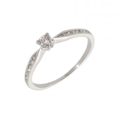 Pre-Owned Platinum Diamond Solitaire & Shoulders Ring