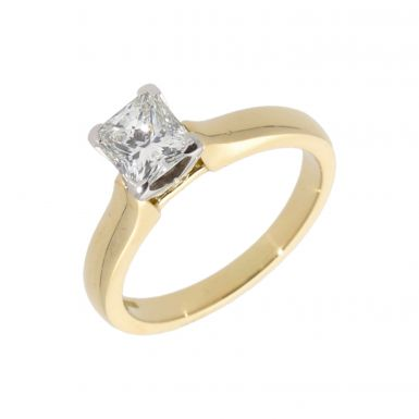 Pre-Owned 18ct Gold 1.03ct Princess Cut Diamond Solitaire Ring