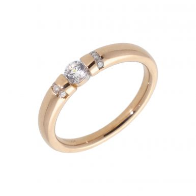 Pre-Owned 14ct Rose Gold Cubic Zirconia Set Band Ring