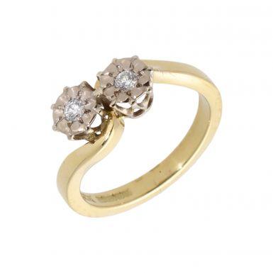 Pre-Owned 18ct Gold 0.10 Carat Diamond 2 Stone Twist Ring