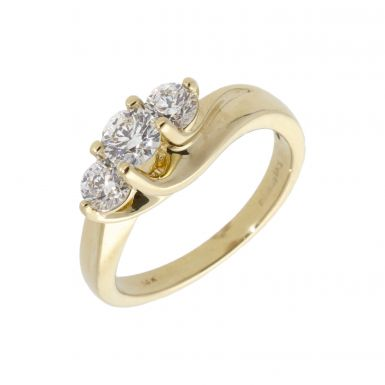 Pre-Owned 14ct Yellow Gold 0.80 Carat Diamond Trilogy Twist Ring