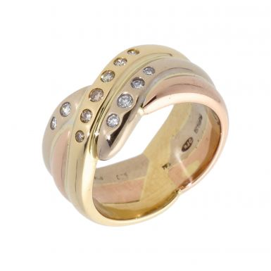 Pre-Owned 18ct Yellow Rose & White Gold Diamond Set Wave Ring