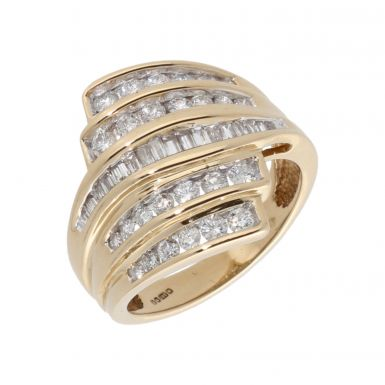 Pre-Owned 14ct Gold Mixed Cut Diamond Multi Row Wave Dress Ring