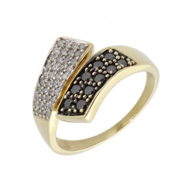 Pre-Owned 9ct Gold Black & White Diamond Crossover Dress Ring