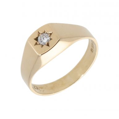 Pre-Owned 9ct Yellow Gold Diamond Set Square Signet Ring
