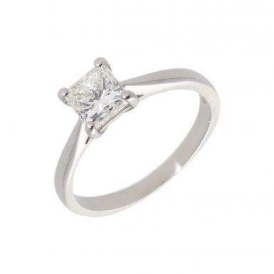 Pre-Owned Platinum 0.90 Carat Princess Cut Diamond Ring