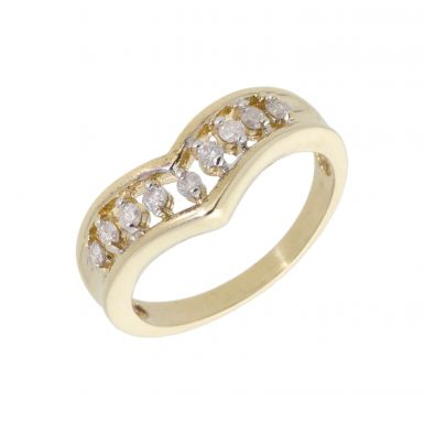 Pre-Owned 9ct Yellow Gold 0.25 Carat Diamond Wishbone Ring