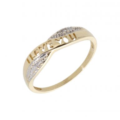 Pre-Owned 9ct Gold Diamond Set I Love You Wave Band Ring