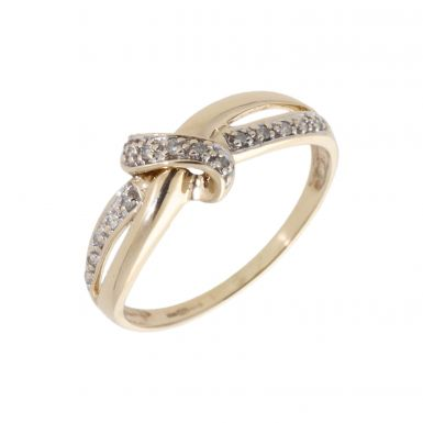 Pre-Owned 9ct Yellow Gold 0.10 Carat Diamond Knot Twist Ring