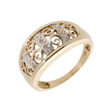 Pre-Owned 9ct Gold Diamond Set Filigree Swirl Dress Ring