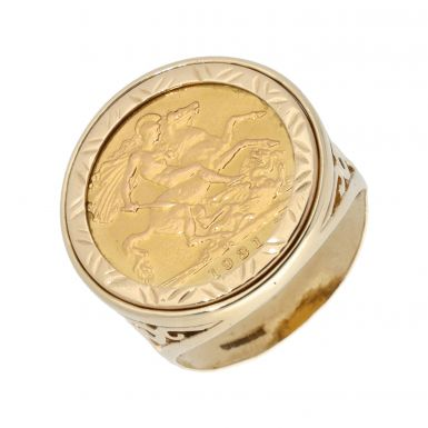 Pre-Owned 1931 Full Sovereign Coin In 9ct Gold Ring Mount