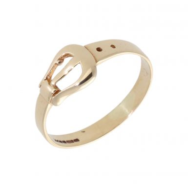 Pre-Owned 9ct Yellow Gold Buckle Band Ring