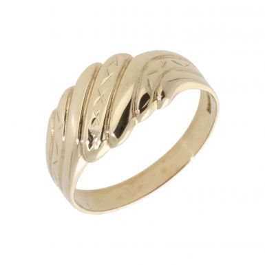Pre-Owned 9ct Yellow Gold Hollow Patterned Wave Dress Ring