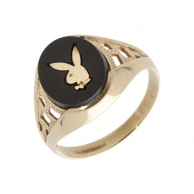 Pre-Owned 9ct Yellow Gold Onyx Playboy Signet Ring