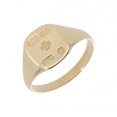 Pre-Owned 9ct Yellow Gold Hallmark Design Signet Ring