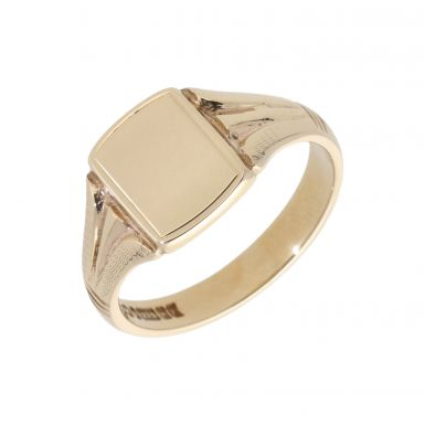 Pre-Owned 9ct Yellow Gold Patterned Shoulder Edged Signet Ring