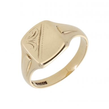 Pre-Owned 9ct Yellow Gold Half Patterned Signet Ring