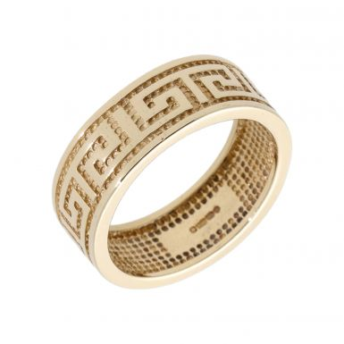 Pre-Owned 9ct Yellow Gold 8mm Greek Key Design Band Ring