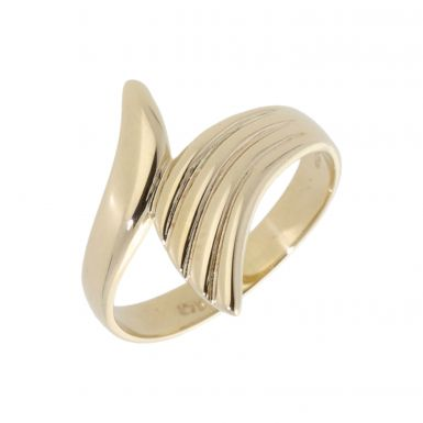 Pre-Owned 9ct Yellow Gold Crossover Fan Dress Ring