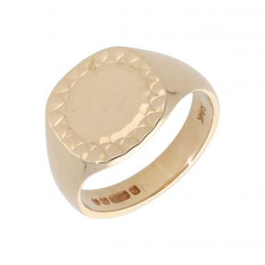 Pre-Owned 9ct Yellow Gold Patterned Edge Signet Ring
