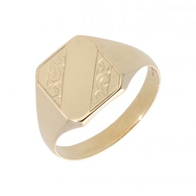 Pre-Owned 9ct Yellow Gold Part Patterned Signet Ring