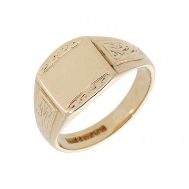 Pre-Owned 9ct Gold Patterned Edge & Shoulder Signet Ring