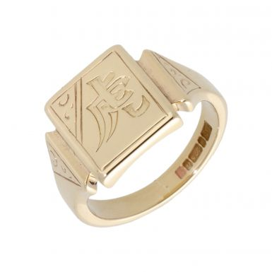 Pre-Owned 9ct Yellow Gold Engraved Signet Ring